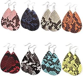 Animal Print Leather Earrings for Women Snake Turtle Crocodile Leopard Print Earrings Lightweight Teardrop Leather Earrings 8 Pairs…