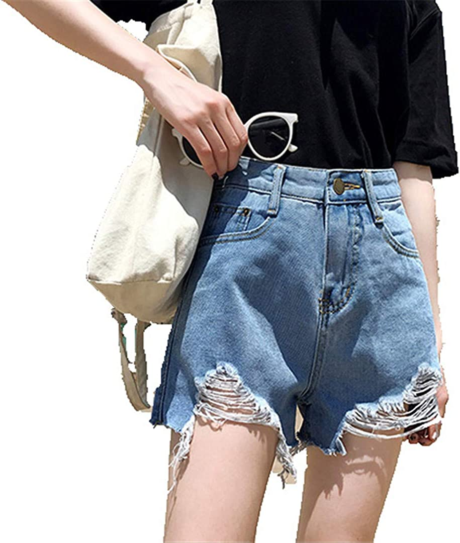 YHK Women Shorts with Denim Ripped Shorts Jeans for Women Hole Distressed Shorts