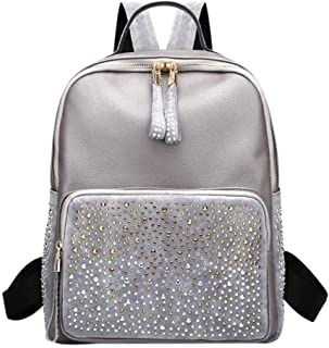 Leisure Style Women Leather Backpacks High Capacity Travel Back Pack Bags Silver