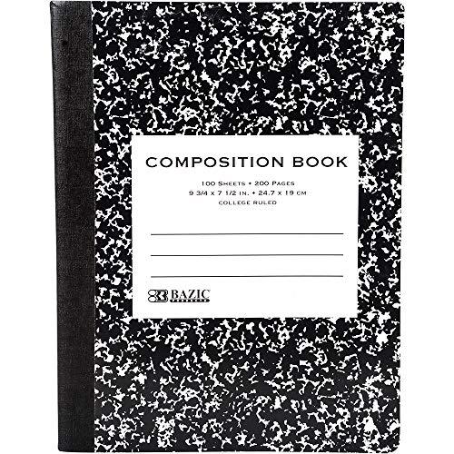 BAZIC C/R 100 Ct. Premium Black Marble Composition Book