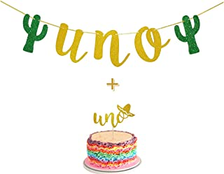 Fiesta First Birthday Smash Cake Kit Gold Glitter UNO Highchair Banner with UNO Cake Topper For Fiesta Cactus Taco Party Supplies Decorations