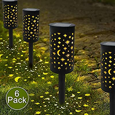 6 Pack Solar Lights Pathway Outdoor Garden Patio Path Landscape Lights Yard Driveway Lawn Walkway Decoration Star Moon Solar Lantern Waterproof Outside Path Hanging Sidewalk Courtyard Black