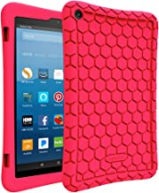 Fintie Silicone Case for All-New Amazon Fire HD 8 (Compatible with 7th and 8th Generation Tablets, 2017 and 2018 Releases) - Honey Comb [Corner Enhancement] Shockproof Kid Friendly Cover, Magenta