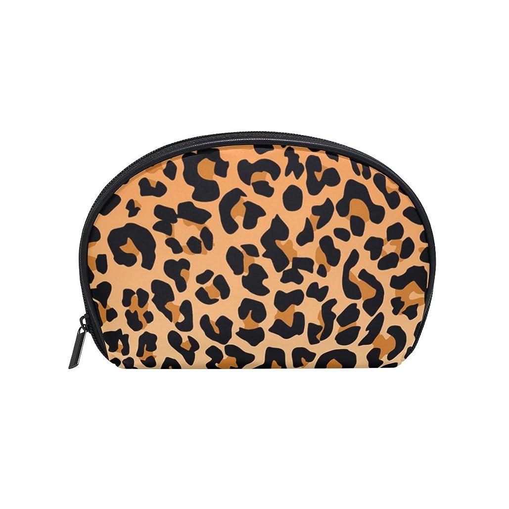に関して家庭教師軍艦ALAZA ヒョウ柄 半月 化粧品 メイク トイレタリーバッグ ポーチ 旅行ハンディ財布オーガナイザーバッグ