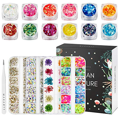 Makartt Nail Art Supplies, Rhinestones Glitters for Acrylic Nails 3D Butterfly Nail Glitter Sequins Dryed Flowers Nail Accessories DIY Nail Art
