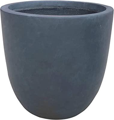 "Kante RC0050C-C60121 Lightweight Concrete Modern Seamless Outdoor Round Planter, 18"" x 18"" x 17"", Charcoal"