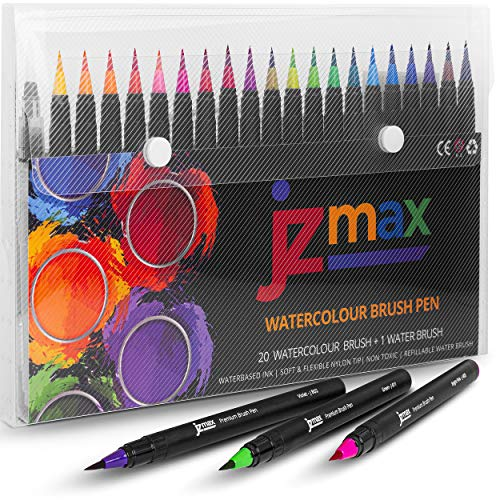 JZMAX Watercolour Brush Pens -[20 Watercolour Pens+1 Brush], Calligraphy Pens with Soft and Flexible...
