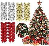 FAVENGO 72 Pcs Moños Navideños Lazos para Arbol de Navidad 4.5x4.5cm Decoracion Arbol Navidad Lazos Navideños para El Adorno del Arbol Corona de Navidad Boda (Rojo Dorado Plata)