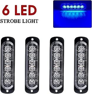 Yifengshun Blue Strobe Lights for Trucks 6 LEDS Flash Emergency Warning Caution Light Bar Surface Mount for Car Motorcycle Truck(4pcs)