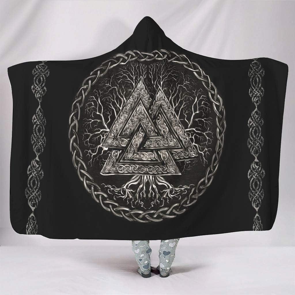 Zerosubsidi Viking Valknut and Tree Hooded Life of Blanket Throw Genuine Free Shipping Genuine