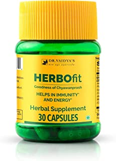 Dr. Vaidya's – Herbofit Capsules, Natural Energy Supplement Pills, Made with Chyawanprash Blend – 250mg Capsules (2 Pack o...