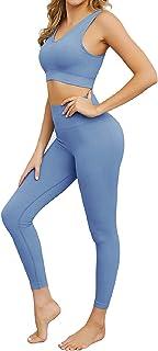 Jetjoy Women 2 piece Workout Set Seamless Super Soft Deep V Neck Bra+Leggings Set Yoga sets Outfits Sports Clothing