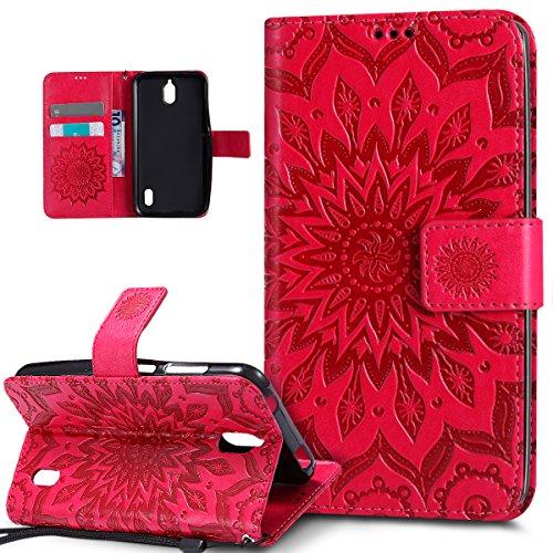Kompatibel mit Huawei Y625 Hülle,Huawei Y625 Schutzhülle,Prägung Mandala Blumen Sonnenblume Muster PU Lederhülle Flip Hülle Cover Schale Ständer Etui Wallet Tasche Hülle Schutzhülle für Huawei Y625,Rot