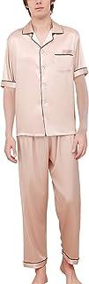 Dolamen Mens Pyjamas Set Satin Long, Mens Silky Soft Spring Summer Silky Pyjamas Nightwear, Long Sleeve Bottoms, Check But...