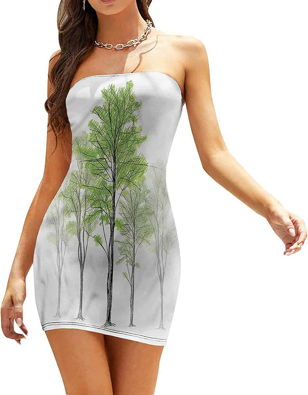 Women's Summer Strapless Dresses Hand Drawn Nature Motif Dresses