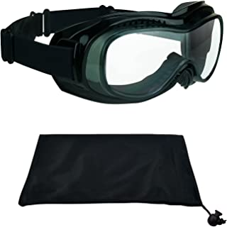 Motorcycle Goggles Over Rx Prescription Glasses with Polycarbonate Safety Clear Lenses. Bomber Clear