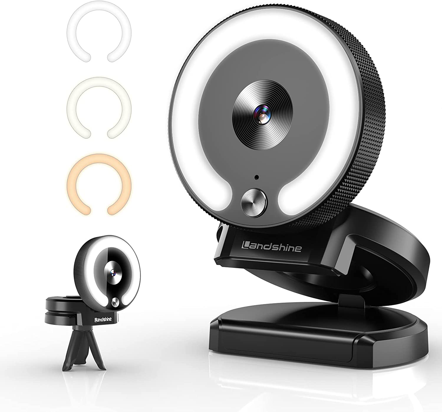 Landshine Streaming Webcam - 1080P HD Web Camera with Microphone and Adjustable Light Plug & Play Camera for PC Wide Angle Fast Focus Stream Cam for Tiktok Laptop Gaming