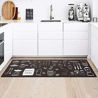 Kitchen Rug Mat, Standing Anti Fatigue Comfort Flooring Door Mat with Non-Slip Rubber Back, Oil Proof Floor Mat and Easy to Clean
