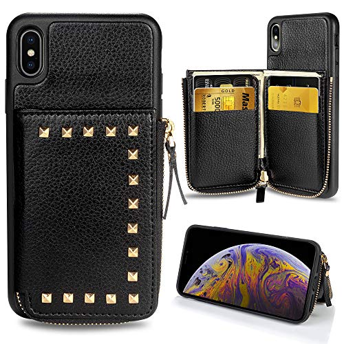ZVE iPhone Xs Wallet Case iPhone X Wallet Case Credit Card Holder, Leather Wallet Case Zipper Wallet Pocket Purse Handbag Case Shockproof Protective Cover iPhone X/Xs 5.8 Inch - Black