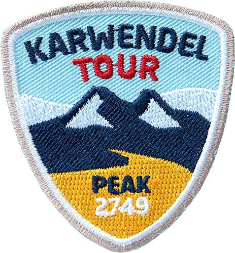 2 x Karwendel Abzeichen 55 x 60 mm gestickt / Bergtour im Karwendel-Gebirge / Bergsteigen Berg-Wandern Klettern Klettersteig / Aufnäher Aufbügler Sticker Patch / Reiseführer Wanderführer Touren-Karte