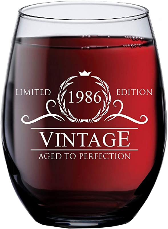 1986 33rd Birthday Gifts For Women Men 15 Oz Stemless Wine Glass 33 Year Old Gift Present Ideas For Mom Dad Funny Vintage Unique Personalized Party Anniversary Reunion Decorations Supplies