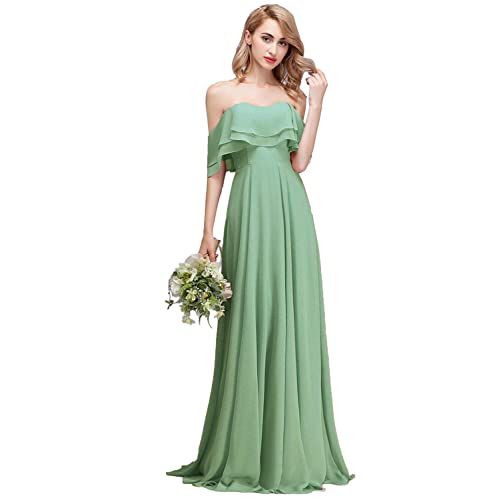 932d708de0f CLOTHKNOW Strapless Chiffon Bridesmaid Dresses Long with Shoulder Ruffles  for Women Girls to Wedding Party Gowns