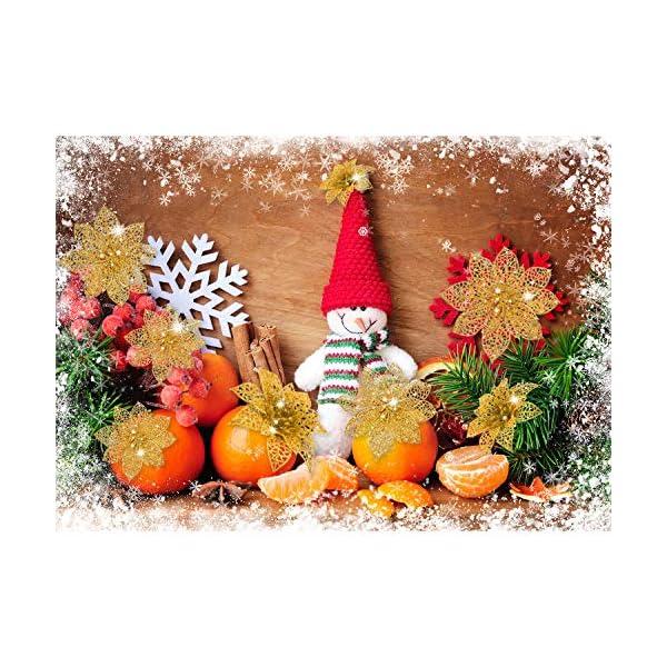 WILLBOND 36 Piezas Ornamento del Árbol de Navidad del Poinsettia del Brillo Adorno de Decoración de Flores de Navidad…