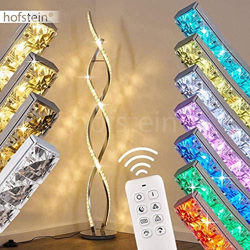 LED Stehlampe Assuan, dimmbare Stehleuchte aus Metall in Chrom, 36 Watt, 1400 Lumen, Lichtfarbe 3000 Kelvin (warmweiß), Standleuchte m. RGB Farbwechsler, Fernbedienung u. Glitzereffekt
