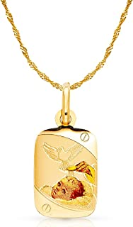 14K Yellow Gold Baptism Charm Pendant with 1.2mm Singapore Chain Necklace