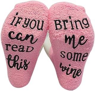 Jourbon Calcetines de Vino con empaque de Cupcakes -If You Can Read This Bring Me Some Wine - Calcetines de Pastel de Alfabeto Calcetines Unisex Casuales (A)