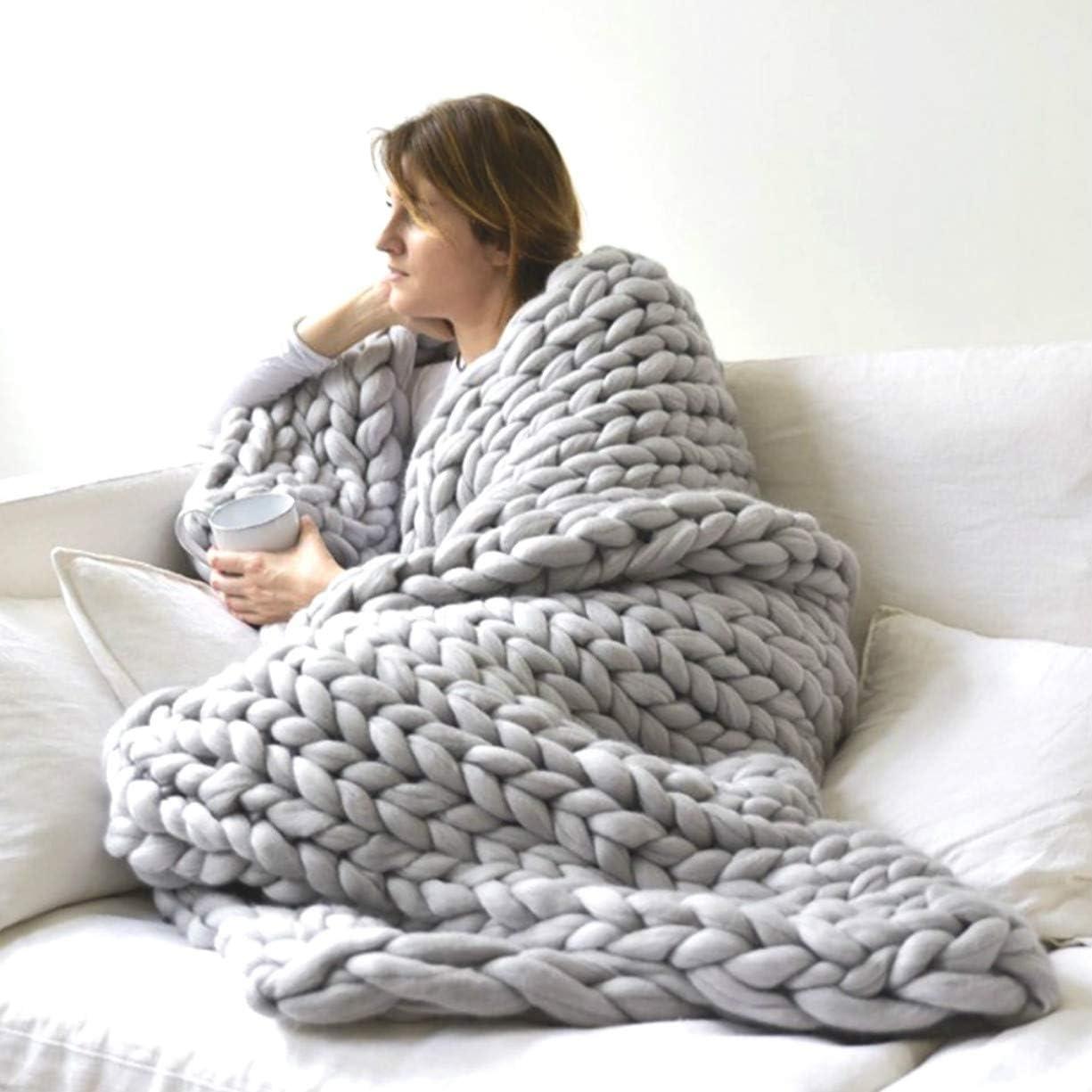 Chunky Knitted Throw Blankets Hand 蔵 Merino Made Boho 驚きの値段で Wool