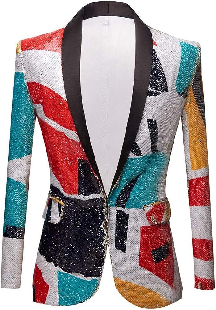 PYJTRL Men Fashion Pattern Shawl Lapel Sequins Blazer
