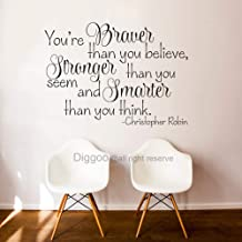 Diggoo You are Braver Than You Believe Christopher Robin Wall Decal Quote You are Stronger Than You Think Children Room Decor Vinyl Lettering (Black,29.5