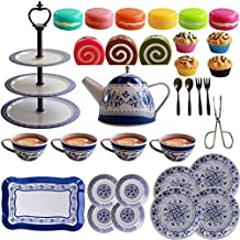 IQ Toys 39 Piece Tea and Cake Set for Pretend Tea Parties Includes Full Tea and Pastry Set with Cake Stand