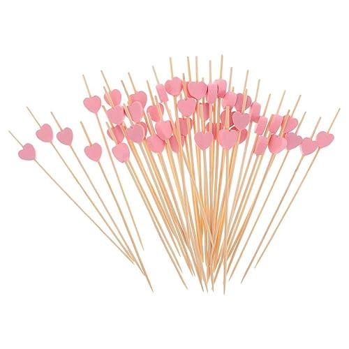 """AKOAK 100 Counts Handmade 4.7"""" Pink Heart Cocktail Sticks Sandwich Fruit Toothpicks Cocktail Picks Party Supplies"""