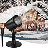 Christmas Projector Lights Outdoor, Upgraded Snowflake Projector Light Waterproof Snowflake Lights for Halloween Holiday Party Home Garden Landscape Decor, Indoor/Outdoor