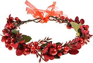 Floral Fall Burgundy Red Rose Winter Flower Crown Bridal Floral Crown Christmas Wreath Halo HC-35