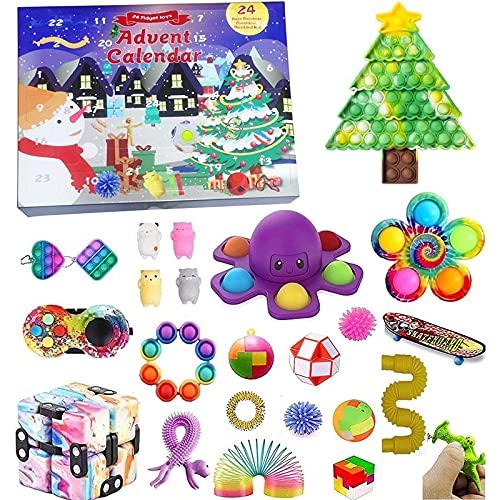 Eghunooze Calendario dell'Avvento di Fidget 2021 Natale Contabilizzare Il Calendario 24 Giorni Fissare i Giocattoli a Basso costo per i Bambini Adulti (Calendario dell'Avvento-1, Una Dimensione)