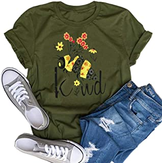 Bee Kind Graphic Floral Shirt - Funny Inspirational Teacher Fall Tees Top