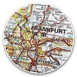 Impresionantes pegatinas de vinilo (juego de 2) 7,5 cm – Frankfurt am Main Alemania, mapa de viajes divertido para portátiles, tabletas, equipaje, reserva de chatarras, frigoríficos, regalo fresco #45064