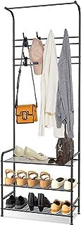 alvorog Porte-Manteau Meuble d'entrée avec 16 Crochets Amovibles et Étagère à Chaussures à 3 Niveaux, Hauteur 180 cm, Asse...