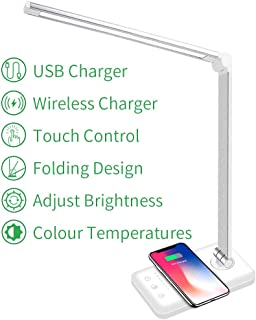 LED Desk Lamp with Wireless Charger, USB Charging Port, 5 Brightness Level & 5 Lighting Modes, Eye-Caring Dimmable for Work Study, Touch Control, 30/60min Auto Timer, White