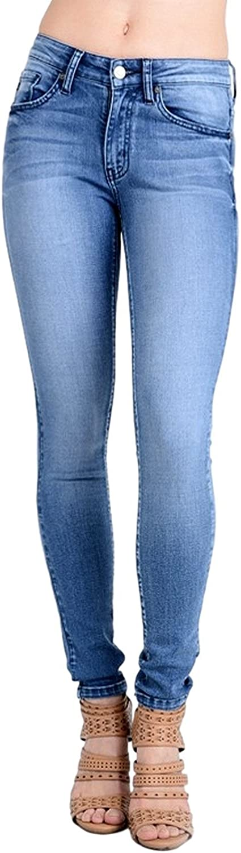 Kan Can Women's Mid Rise Skinny Jeans Light Denim KC7085HRL