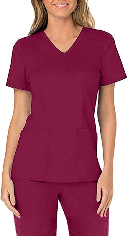 Womens Scrub_Tops Solid Color Short Tops overseas V-Neck Under blast sales Working U Sleeve