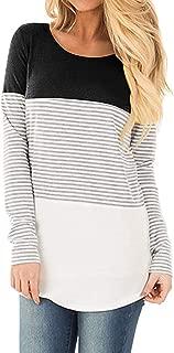 Women's Round Neck Blouse Triple Color Block Stripe T-Shirt Casual Tops