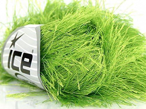 Lime Green Extra Long Eyelash Yarn Ice Luxurious Fun Fur 50gr 38yds 17154 product image