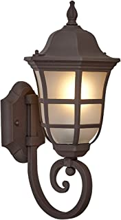 Traditional Gooseneck Upward Outdoor Wall Sconce Light   Classical Matte Bronze Finish with Frosted Glass   Exterior Lighting LED Bulb 2700K Included