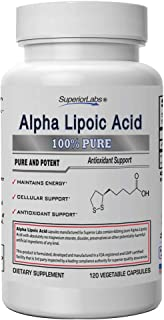 Superior Labs Alpha Lipoic Acid - Pure NonGMO ALA 600mg 120 Vegetable Caps - Zero Synthetic Additives, Stea...