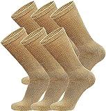 6 Pairs of Cotton Diabetic Non-Binding Neuropathy Crew Socks (Beige, Fits Mens Shoe Size 9-12/Womens Shoe Size 10-13)