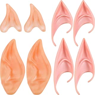 Tatuo 4 Pairs Elf Ears Fairy Pixie Soft Ears Latex Alien Ears for Dress up Accessory